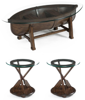 MAGNUSSEN HOME CANOE COCKTAIL TABLE AND 2 PADDLE ROUND END TABLES